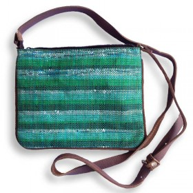 Recycled Plastic Green Crossbody Bag