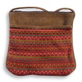 Long Brocade and Leather Shoulder Bag