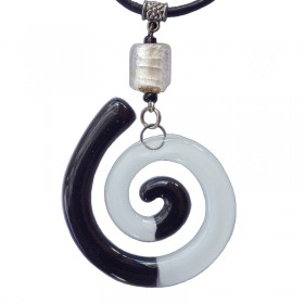 Spiral Black and White Glass Pendant
