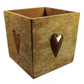 Square Cinnamon Bark Candleholder