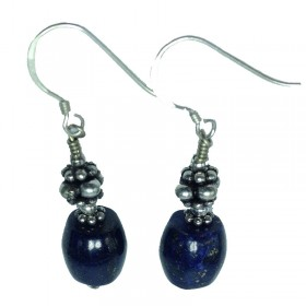 Lapis and Silver Bead Earring