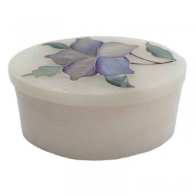 White Floral Oval Box