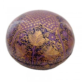 Domed Purple Papier-Mache Box