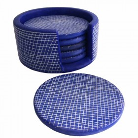 Blue Etched Pattern Coaster Set