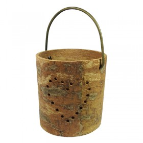 Round Cinnamon Bark Candleholder