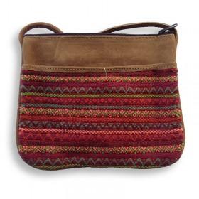 Wide Brocade and Leather Shoulder Bag