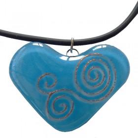 Heart Swirl Glass Pendant