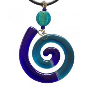 Spiral Blue Glass Pendant
