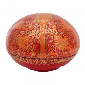 Domed Red Papier-Mache Box